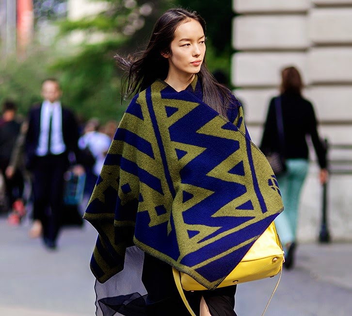 Streetstyle-Fei-Fei-Sun_Paris-Fashion-Week-Spring-Summer-2015_Street-Style-poncho-cape-trends fall 2014-front row blog-1